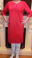 Женское платье с узором -замша\красный