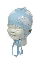 Детская шапочка для мальчика на завязках Барашек, BARBARAS (Польша)