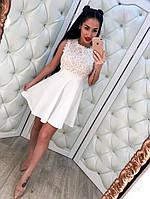 Невероятно красивое, женское мини-платье с расклешенной юбкой (кружево и котон) РАЗНЫЕ ЦВЕТА