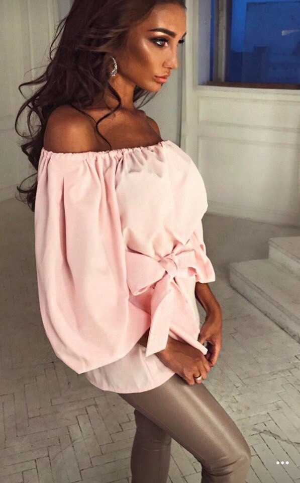 348ca9f2377 Топ блуза персикового цвета с широкими рукавами фонариками и бантом на  поясе - Интернет-магазин