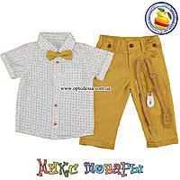 Коричневые костюмы с бриджами на подтяжках для мальчика от 2 до 5 лет (5109-1)