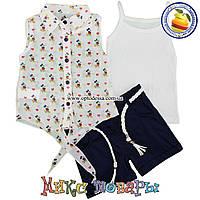Летний костюм тройка для девочек от 2 до 5 лет Турция (5110-1)