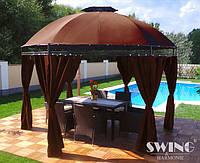 Круглый павильон Swing & harmonie 3.5 м Коричневый с LED освещением