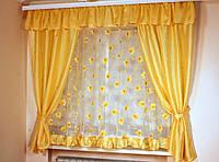 Шторы для кухни Жасмин светлое золото