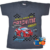"""Яркая детская футболка """"Catch Me"""" , тонкий (дешевый) трикотаж , для мальчиков от 4-8 лет"""