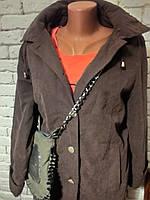 Куртка женская коричневая утепленная  с капюшоном Klassik Clothing