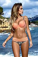 Яркий модный купальник персиковый