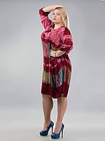 Сарафан-разлетайка с рукавом 3/4, бордовый, до 70 размера