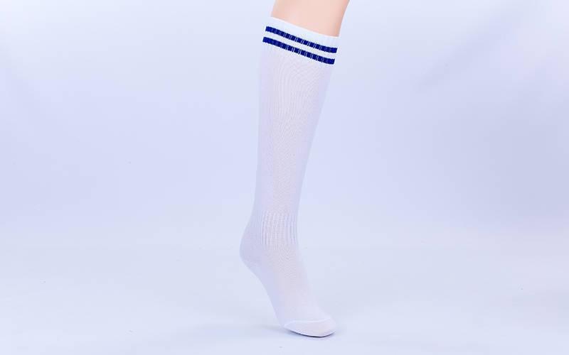 Футбольні гетри дитячі білі з синьою смугою EDP603-W