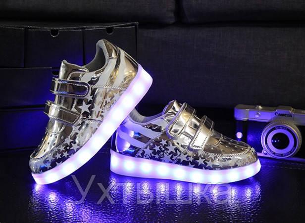 e88187c6 Детские Светящиеся кроссовки лед LED, Америка серебро -