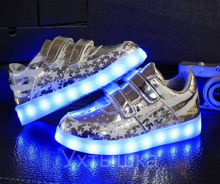 585f7e31 Детские Светящиеся кроссовки лед LED, Америка серебро, цена 699 грн.,  купить в Черноморске — Prom.ua (ID#387777972)