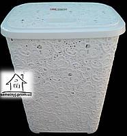 Корзина/Бак для белья Elif Plastik Ажур (белая) 65 л