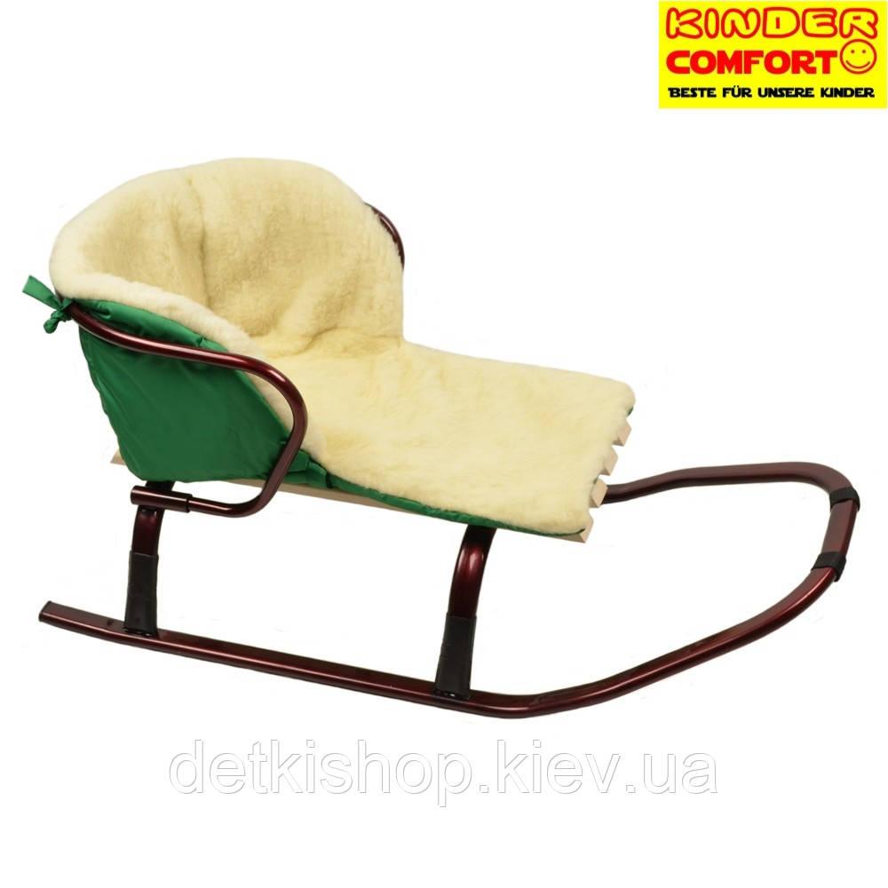 Меховой вкладыш в санки (Kinder Comfort, зелёный)