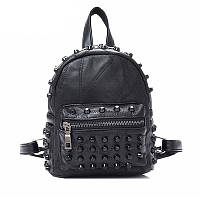 Рюкзак женский мини из натуральной кожи с шипами  (черный)
