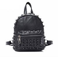 Женский кожаный рюкзак городской. Модный маленький рюкзак женский. Мини рюкзак женский (черный)