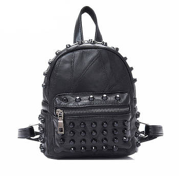 Жіночий шкіряний рюкзак міський. Модний маленький рюкзак жіночий. Міні рюкзак жіночий (чорний)