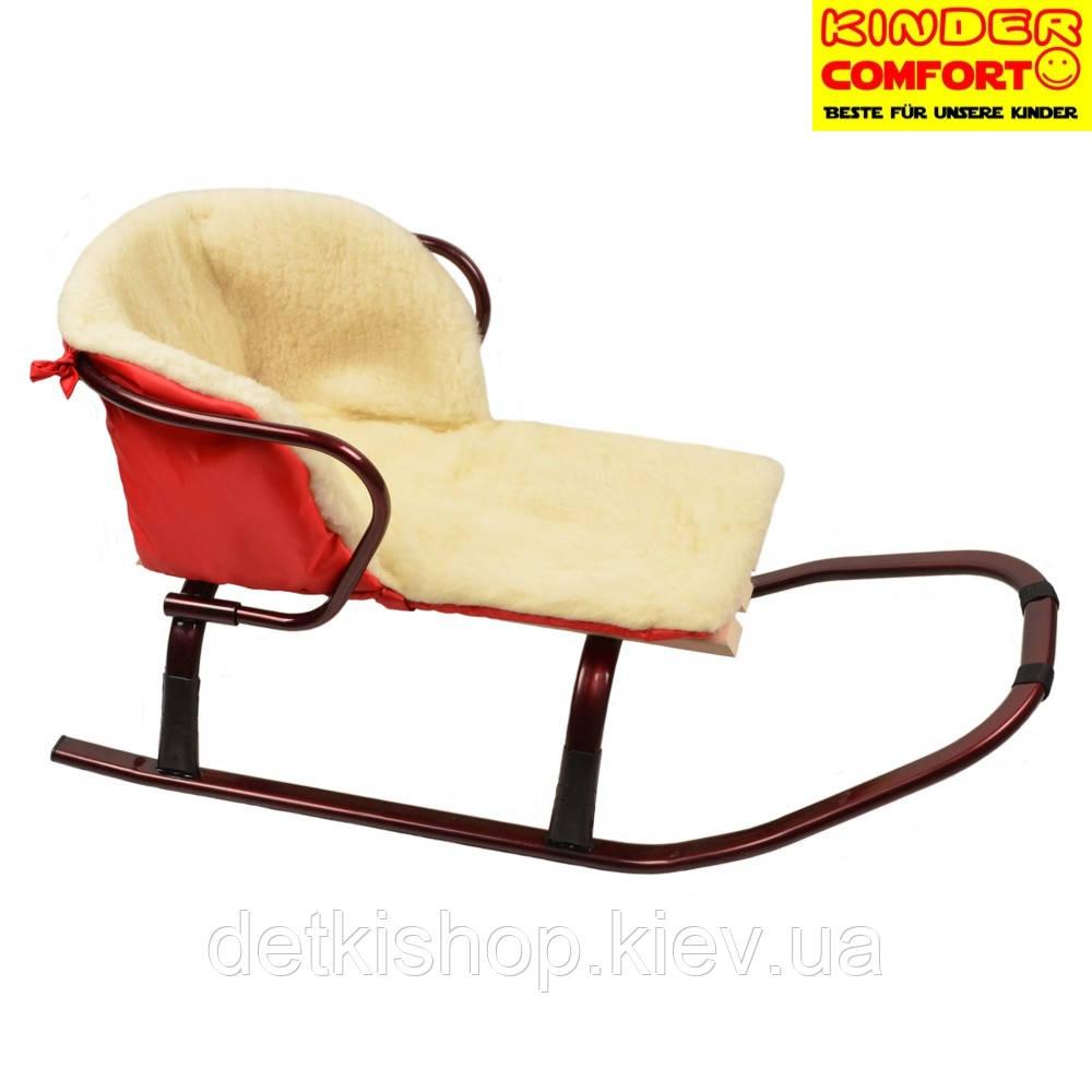 Меховой вкладыш в санки (Kinder Comfort, красный)
