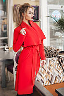Женское кашемировое пальто на запах красное. Хит сезона!