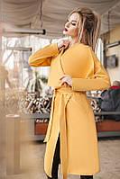 Женское кашемировое пальто на запах цвет горчицы. Хит сезона!