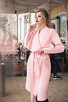 Женское кашемировое пальто на запах розовое. Хит сезона!