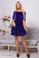 Женское коктейльное велюровое платье с открытыми плечами