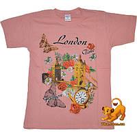 """Трикотажная детская футболка """"London Fashion"""" , (трикотаж тонкий , дешевый) , для девочки 9-11 лет"""
