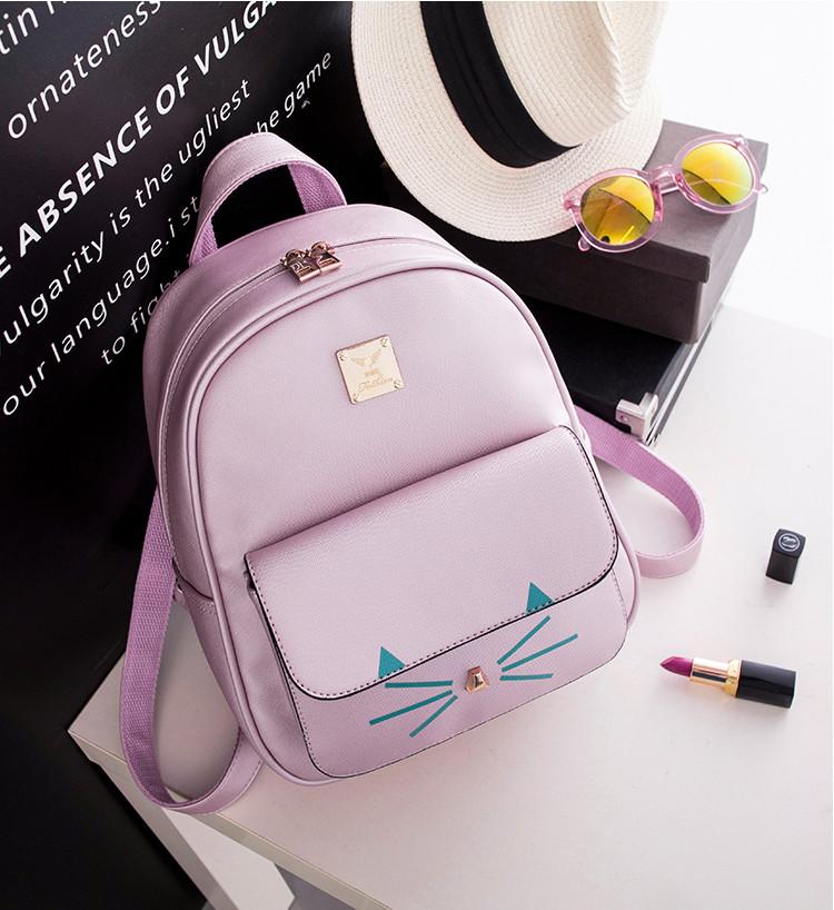 5d7e57be8929 Рюкзак женский кожаный Кот с усиками (розовый) - Интернет-магазин «VINGO»