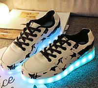 Светящиеся кроссовки лед LED, Белый Американский флаг