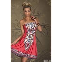 Летнее кораловое платье, красное