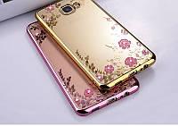 TPU чехол со стразами для Samsung Galaxy C9 Pro розовый и золотистый