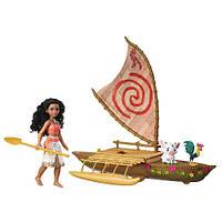 Игровой набор кукла Моана ( Ваяна) , фигурки поросенка Пуа, петуха Хей-Хей и каноэ. Hasbro Moana