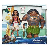 Набор из двух кукол Мауи и Моана ( Ваяна) , фигурки поросенка Пуа, петуха Хей-Хей. Hasbro Moana