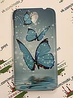 Чехол для Lenovo A850 (Голубые бабочки)
