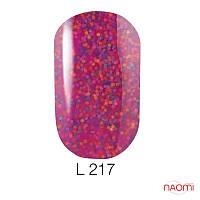 Гель-лак Naomi Lets Go Party 217, 6 мл фуксия с большим количеством цветной чешуи