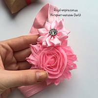 """Красивая повязка для малыша """"Радужный цветок"""". розовый"""