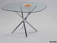 Стол обеденный хромированный DS-6045, обеденный стол, столешница закругленная, стеклянная, 90х90х74см