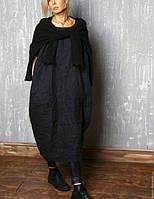 Платье льняное в стиле Бохо. С карманами, боченок, свободный крой. Стандарт-батал 54