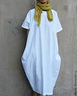 Платье льняное в стиле Бохо. С карманами, боченок, сводоный крой. Стандарт-батал