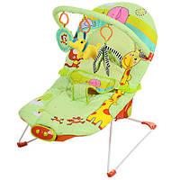 Детское кресло-шезлонг BC 002-A дуга, подвески, муз, вибро, 3 полож, салатовый