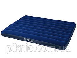 Полуторный надувной матрас Intex велюр 137*191*22 см. Цвет синий