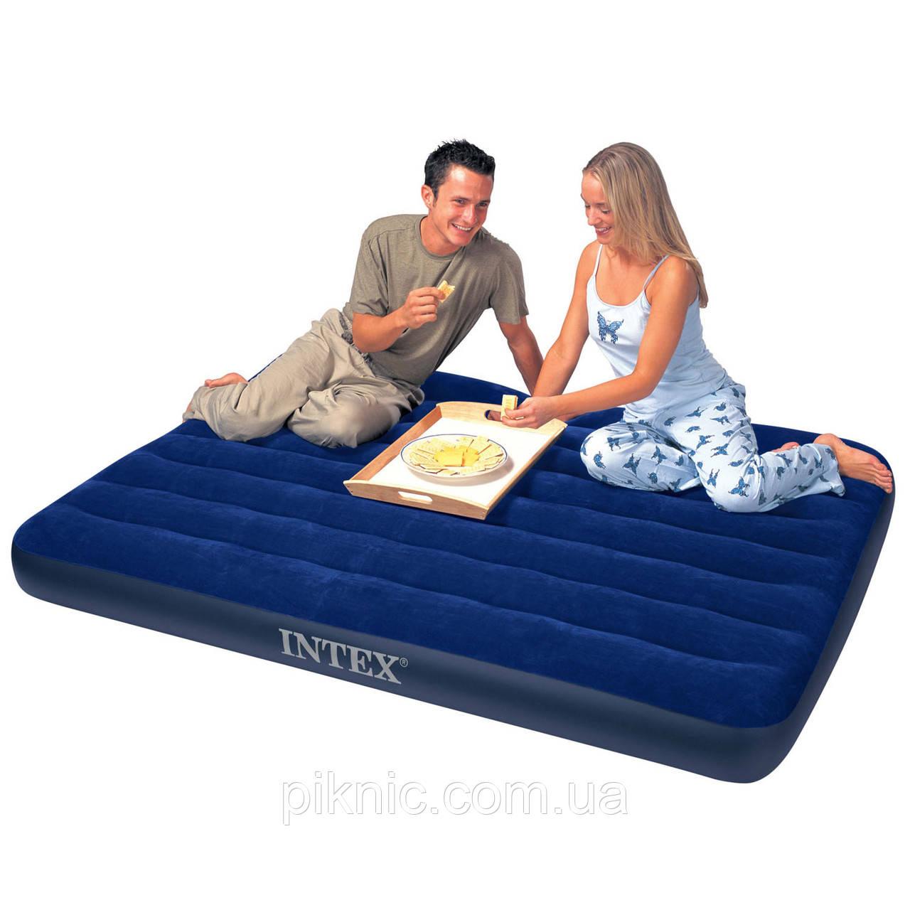 Двуспальный надувной матрас Intex велюр 68759 152*203*22 см. Цвет синий