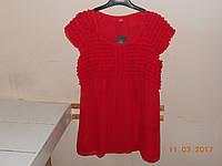 Красная блузка с драпированной кокеткой, фото 1