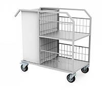 Стол-тележка для белья, на колесах, 2 полки, тканевый мешок для белья, 1080х590х1000