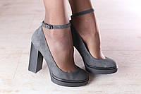 Туфли женские, из натуральной замши, серые, с чокером сверху, на толстом устойчивом каблуке, на модной подошве