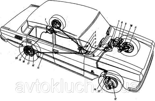 Гальмівна трубка на Москвич 2140-Задня права