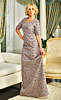 Шикарное льняное платье макси Фатима серого цвета