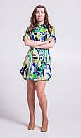 Платье-рубашка из хлопка зеленая Р80