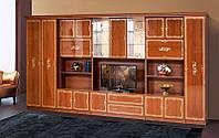 Стенка для гостиной классика Версаль 10, стенка с бельевым шкафом и местом для ТВ, 4616*2260*610