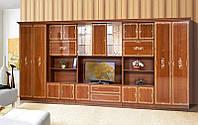 Стенка для гостиной классика Версаль 11, стенка с двумя бельевыми шкафами и местом для ТВ, 5066*2260*610