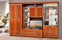 Стенка для гостиной со шкафом для одежды Версаль 12, в классическом стиле, каштан 3266*2260*610